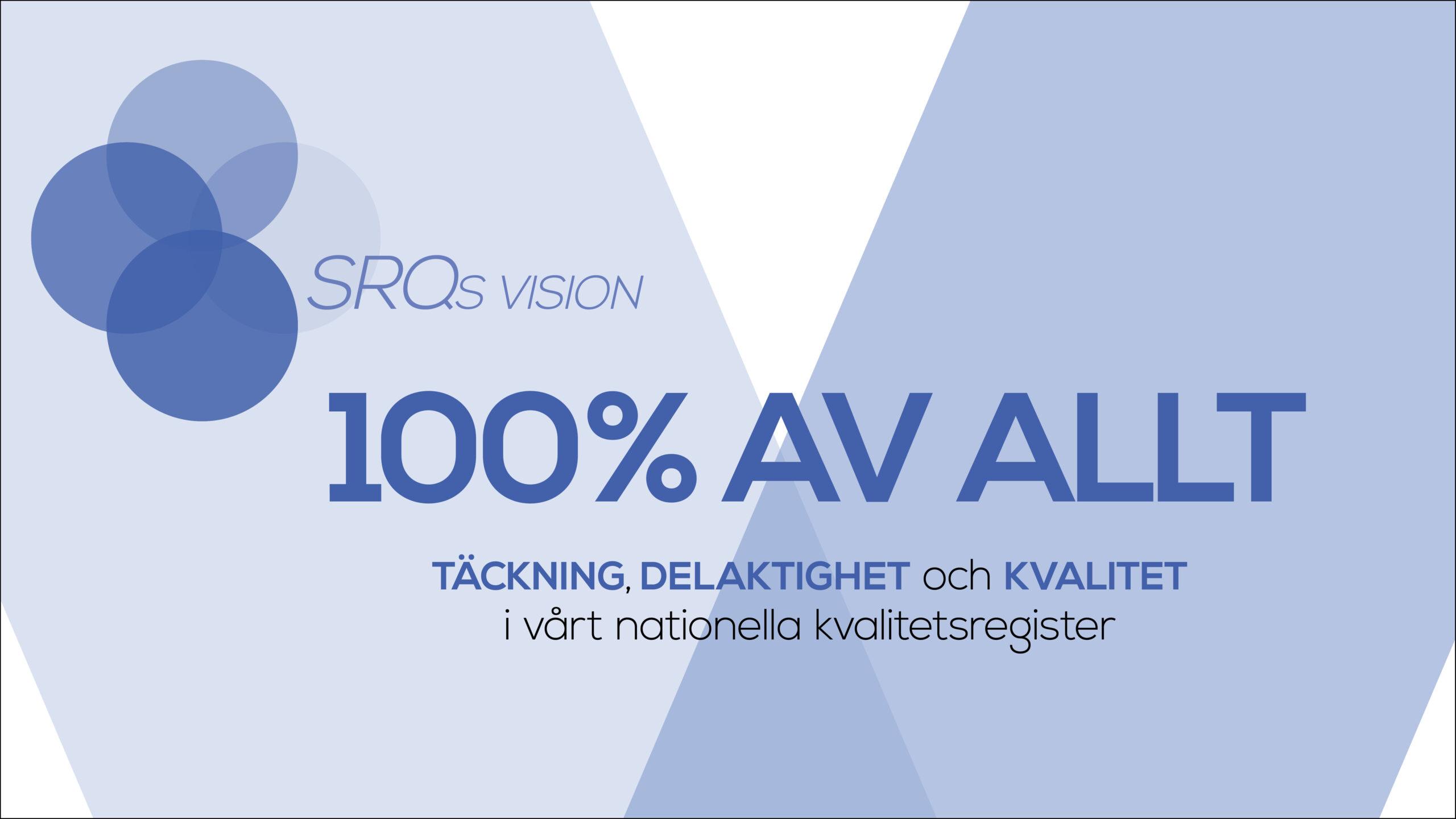 Bilden visar Svensk Reumatologis vision som syftar till att ha 100 % täckning, delaktighet och kvalitet i registret