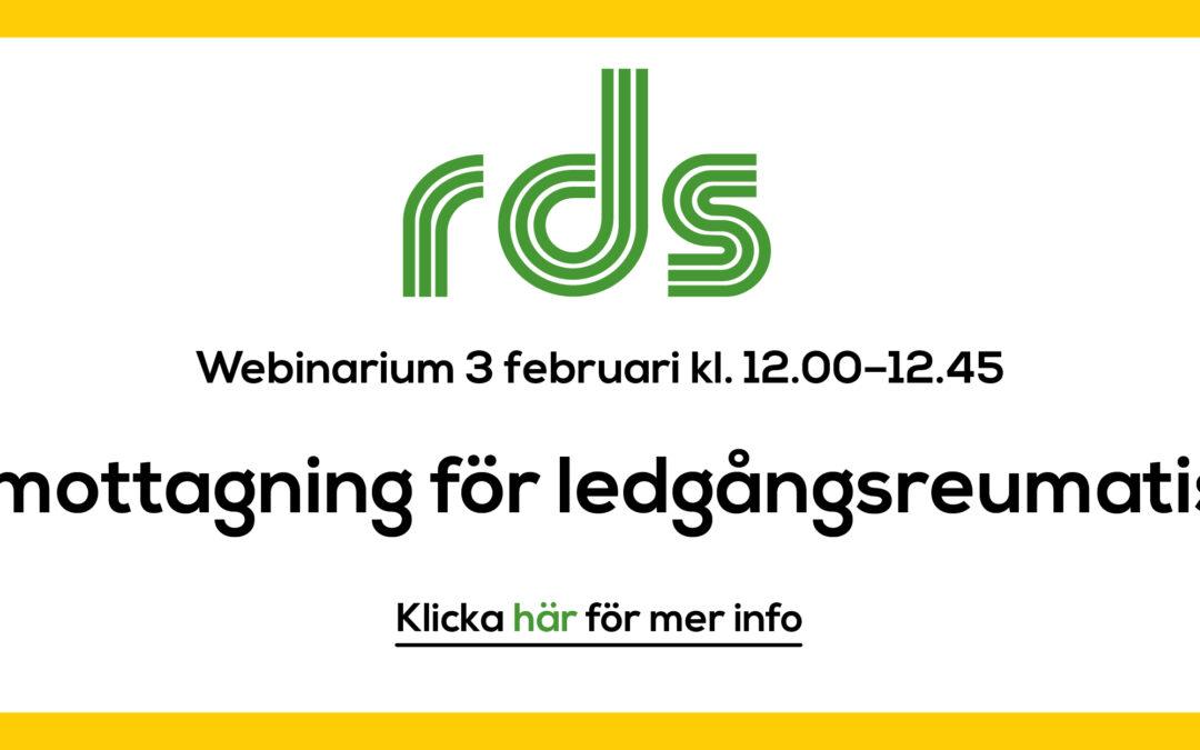 RDS-webinarium: E-mottagning för ledgångsreumatism